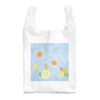 ラブバとフルーツ(うす青) Reusable Bag