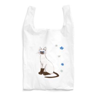 期間限定 青い目の猫と勿忘草エコバッグ Reusable Bag