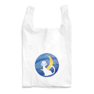 月夜の白ネコ Reusable Bag