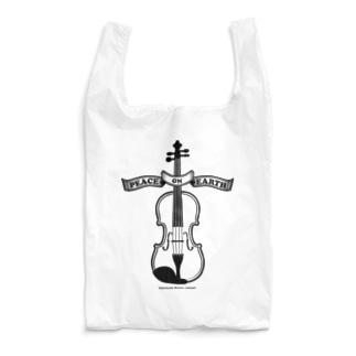 バイオリン/Peace on Earth黒 Reusable Bag