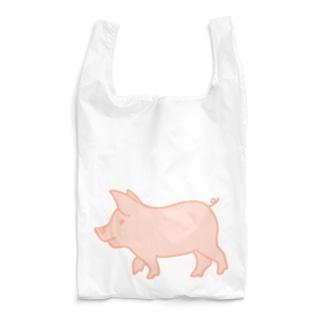 ピンク豚【塗り】 Reusable Bag