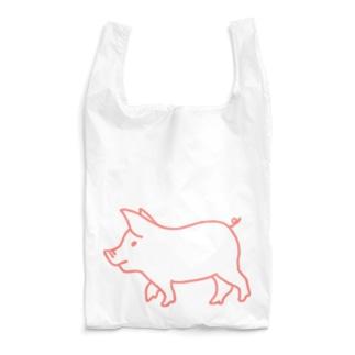 ピンク豚【線】 Reusable Bag