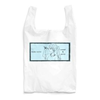 -ウマクナリタイ-ポニテ女子 ライトブルー Reusable Bag