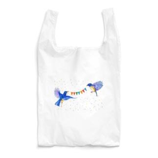 【アクリル画Artist erika】幸せの青い鳥 Reusable Bag