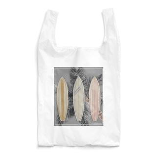 サーフボードと椰子の木[モノクロ] Reusable Bag