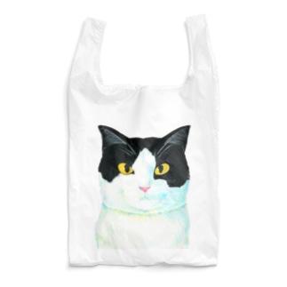 ウシ柄の猫がこちらをみている Reusable Bag