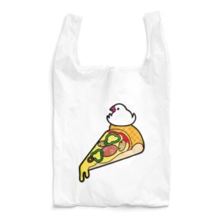 ピザで暖をとる文鳥(素材が濃い色用) Reusable Bag