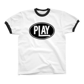 ELLIPSE LOGO BL ① Ringer T-shirts