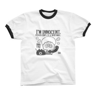 innocent chips モノクロ リンガーTシャツ
