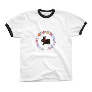 黒ウサギ Ringer T-shirts