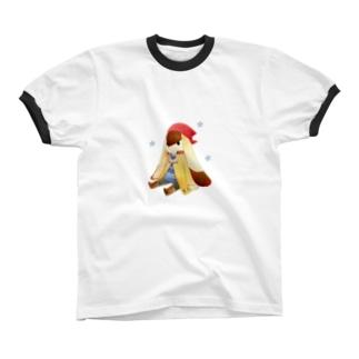 おすわり Ringer T-shirts