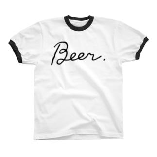 Beer. bl リンガーTシャツ