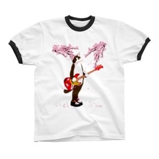 猫ベース 桜2018 Ringer T-shirts
