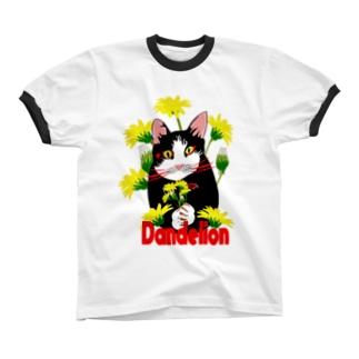 はちわれ猫とたんぽぽ Ringer T-shirts