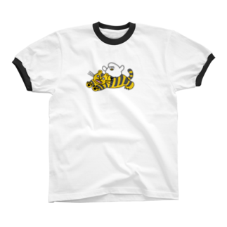 mugny shopの虎視眈々リンガーTシャツ