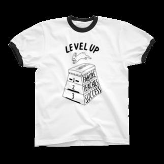 ねこぜもんのLEVEL UP FTS くろいロゴ リンガーTシャツ