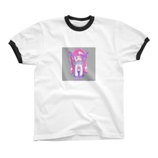 ピンクツインテール リンガーTシャツ