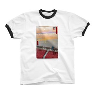 名所佐賀百景「東よか干潟」 リンガーTシャツ