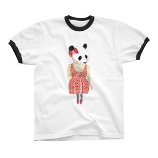 パンダ リンガーTシャツ