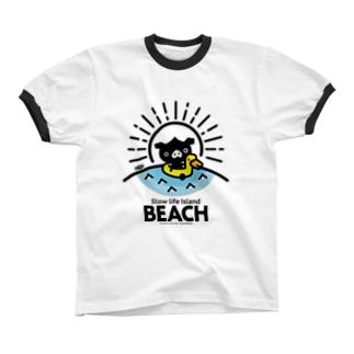 octon Slow life Island BEACH #basic Ringer T-shirts