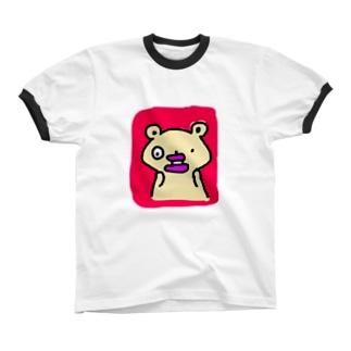たらこくちびるのくまさんびっくりする リンガーTシャツ