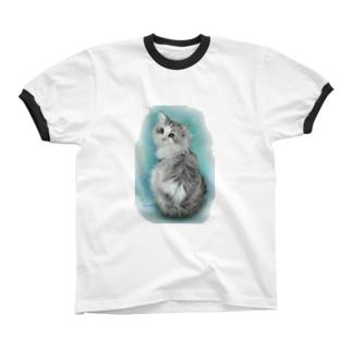 スコティッシュフォールドのトムさん1 リンガーTシャツ