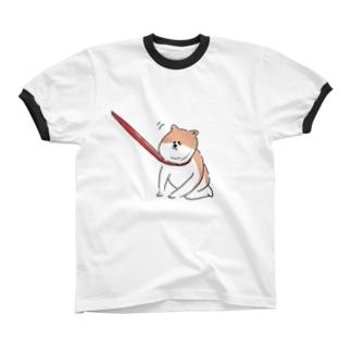 散歩イヤイヤワンちゃん Ringer T-shirts