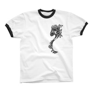 海草魚(leafy fish/リーフィーフィッシュ) リンガーTシャツ