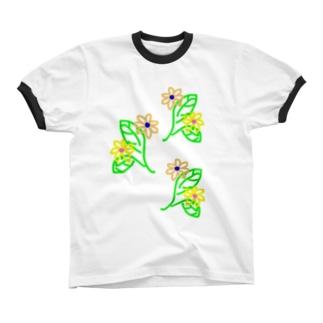花葉っぱ リンガーTシャツ