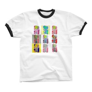 フラワー9 リンガーTシャツ