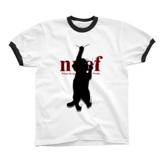 Cling cat しがみつく黒猫 リンガーTシャツ