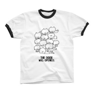 neko(白黒) リンガーTシャツ