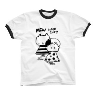 びようしさん(白黒) リンガーTシャツ