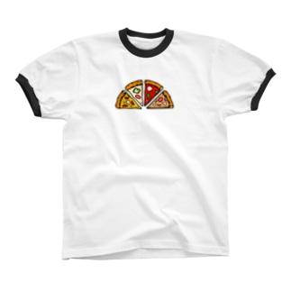 わらしべ ピザ (焼きたて) リンガーTシャツ