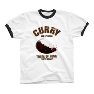 I LOVE 家庭の味 カレー ヴィンテージstyle リンガーTシャツ