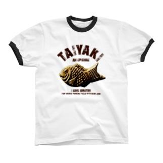 I LOVE たい焼き ヴィンテージstyle リンガーTシャツ