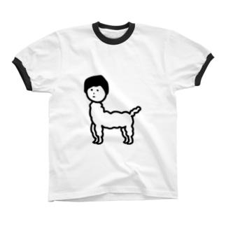 じんめんアルパカ リンガーTシャツ