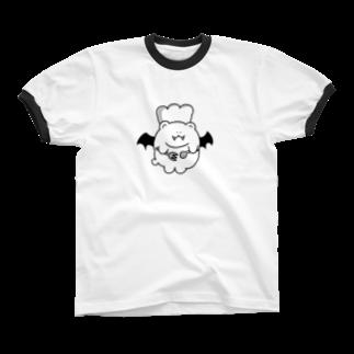 SleepingMuseumの給仕悪魔ベアー リンガーTシャツ