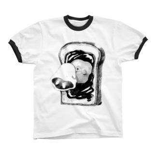 オバケちゃんと鏡 リンガーTシャツ