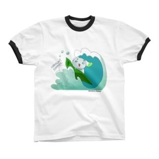 【やさいぬ×サマー】波乗りはっくん リンガーTシャツ