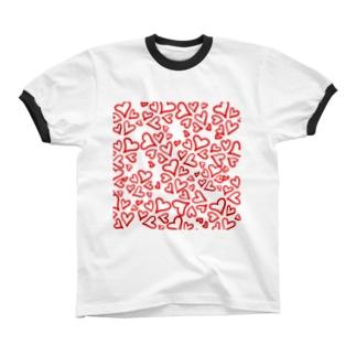 気まぐれハート Ringer T-shirts