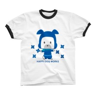 HAPPY DOG WORKS 忍者_シュリケンA リンガーTシャツ