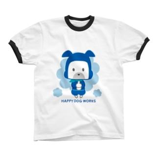 HAPPY DOG WORKS 忍者_ドロンB リンガーTシャツ