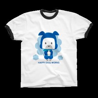 HAPPYDOG製作所@SUZURI支店のHAPPY DOG WORKS 忍者_ドロンBリンガーTシャツ