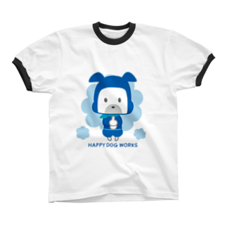HAPPYDOG製作所@SUZURI支店のHAPPY DOG WORKS 忍者_ドロンB リンガーTシャツ