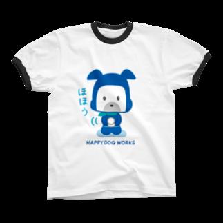 HAPPYDOG製作所@SUZURI支店のHAPPY DOG WORKS 忍者_ほほう リンガーTシャツ