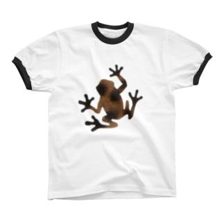 茶色いカエル リンガーTシャツ