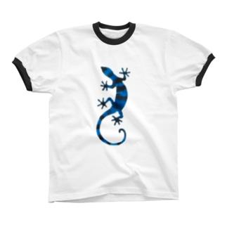 青いしましまのトカゲ リンガーTシャツ