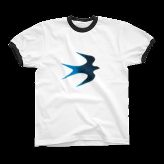 ツバメ堂の青い鳥 リンガーTシャツ