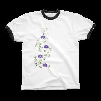 ツバメ堂の鉄扇の花 Ringer T-shirts